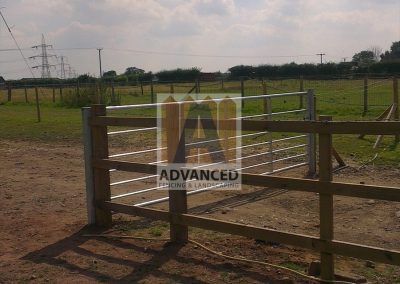 Post & Rail Fence and Steel Field Gate